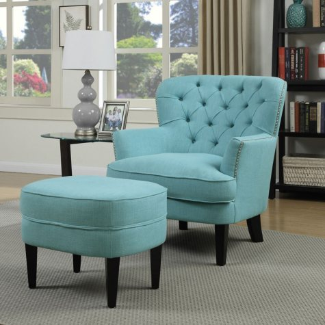 Athena Button-Tufted Accent Chair and Ottoman