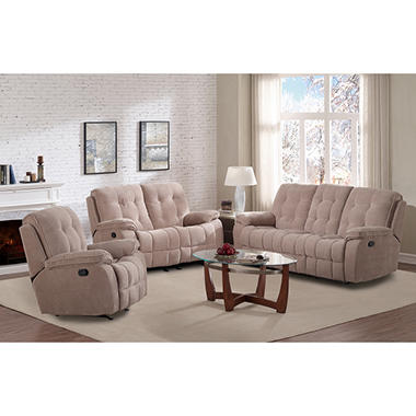 Reclining Sofa, Glider Loveseat and Rocker Recliner Set (Assorted Colors)
