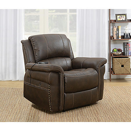 Knowles Fabric Heat and Massage Power Recliner, Brown