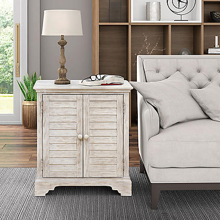 Marion Two-door Modern Farmhouse Accent Chest - Weathered White