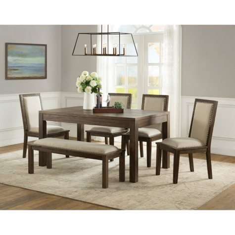 Hayden 6-Piece Dining Set with Bench