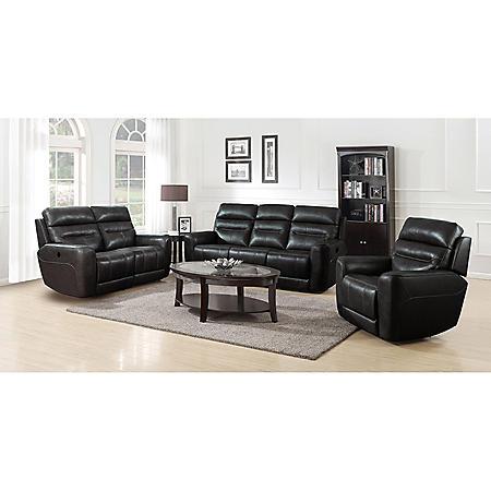Broderick 3-Piece Power Reclining Sofa, Loveseat and Recliner Set