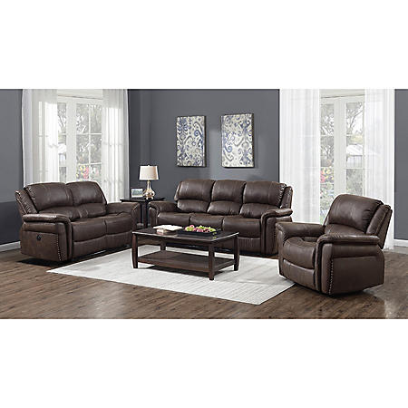Charles 3-Piece Power Sofa, Loveseat and Recliner