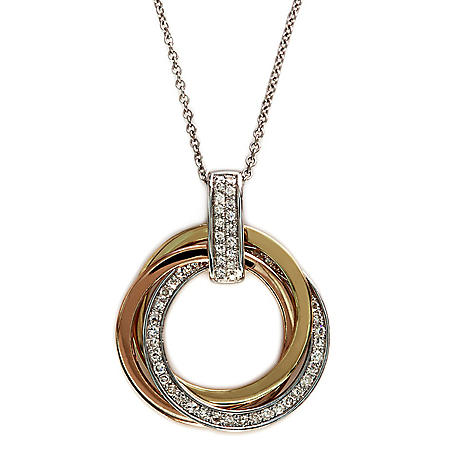 0.20 ct. t.w. Diamond Twisted Circles Pendant in 14K Tri-Color Gold (H-I, I1)