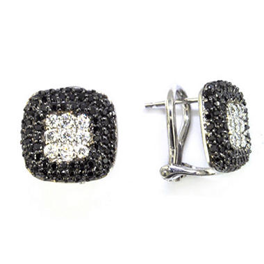 1 ct. t.w. Black & White Pave Diamond Earrings (H-I, I1)