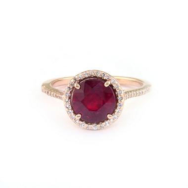 2.5 ct. t.w. Glass-Filled Ruby & .18 ct. t.w. Diamond Ring in 14K Rose Gold (H-I, I1) (copy)
