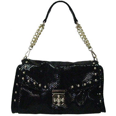Sasha Python Embossed Leather Handbag - Black