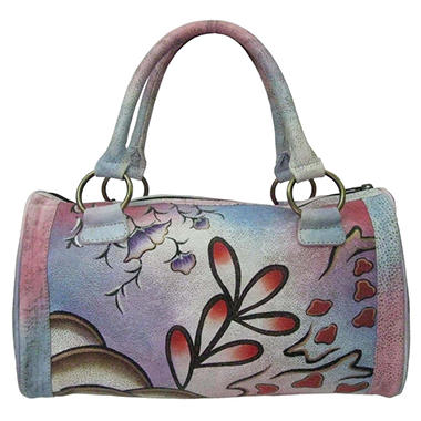 Sasha Flower Print Leather Satchel - Blue