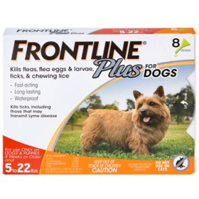FRONTLINE Plus for Dogs, Flea and Tick Treament, 8 ct. (Choose Your Size)