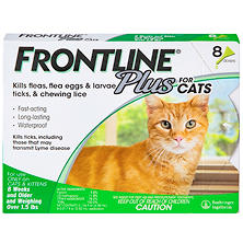Frontline Plus Flea, Tick and Lice Control for Cats and Kittens (8 doses)