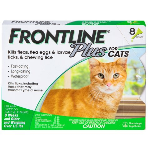 FRONTLINE Plus for Cats and Kittens, Flea and Tick Treatment, 8 ct.