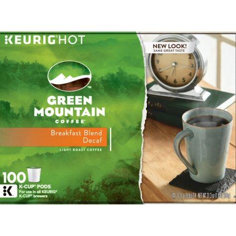Green Mountain Coffee, Decaffeinated Breakfast Blend (100 K-Cups)