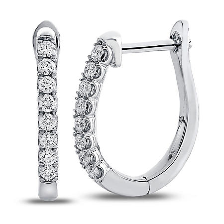 0.23 CT. T.W. Round Diamond Hoop Earrings in 14K White Gold (I,I1)