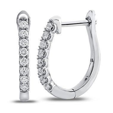 0 23 Ct T W Round Diamond Hoop Earrings In 14k White Gold I I1
