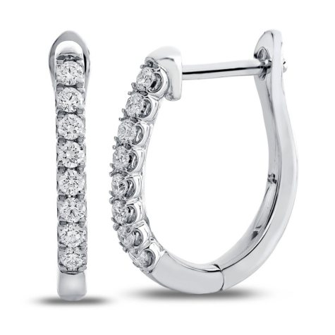 0.23 CT. T.W. Round Diamond Hoop Earrings in 14K White Gold (I,I1)