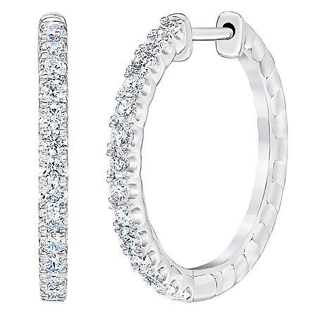 0.70 CT. T.W. 14K White Gold Round Diamond Hoop Earrings I,I1