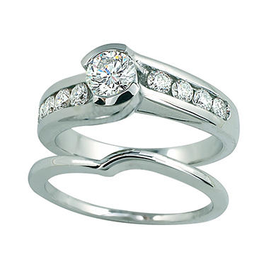 1.00 ct. t.w. Round Cut Diamond Engagement Ring Set in 14k White Gold (I, I1)