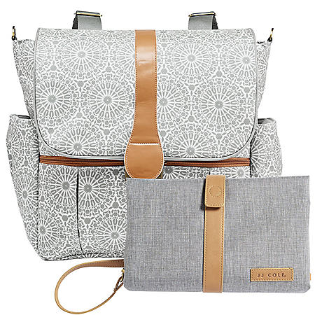 JJ Cole Backpack Diaper Bag with Bonus Matching Changing Clutch (Choose Your Color)