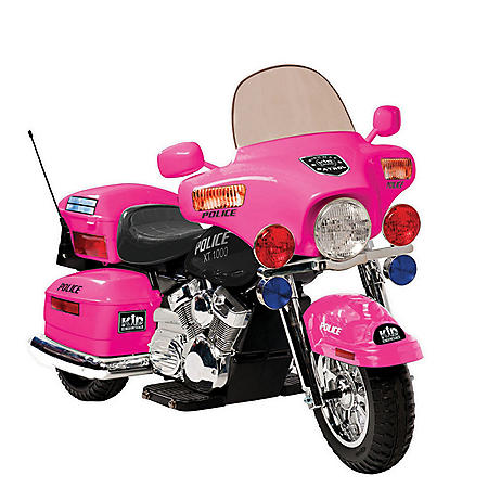 12V Police Motorcycle in Pink