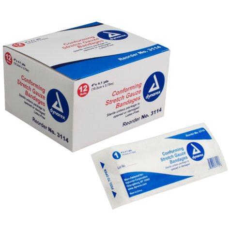 "Dynarex Sterile Stretch Gauze Bandages - 4"""