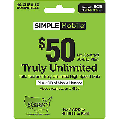 Simple Mobile $50 TRULY UNLIMITED 4G LTE† Data, Talk & Text 30-Day Plan (Video streams at up to 480p), plus 5GB of Mobile Hotspot (Email Delivery)
