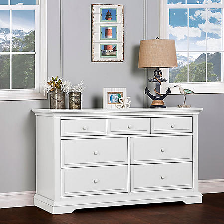 Evolur Parker 7-Drawer Double Dresser, White