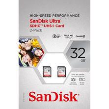 SanDisk 32GB SDHC UHS-1 Memory Cards, 2 Pack