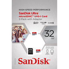 SanDisk Mobile Ultra 32GB microSDHC UHS-1 Card with Adapter, 2-Pack