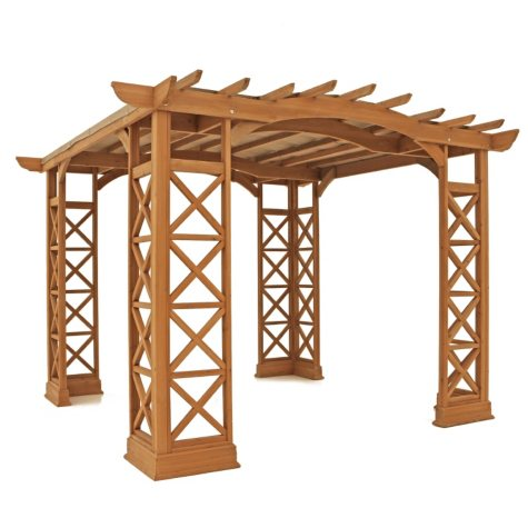 Yardistry Arched Roof Pergola with Snap-On Sunshade (Choice of color and size)
