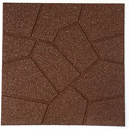 """18"""" x 18"""" Rubber Reversible Brickface Paver - Red"""