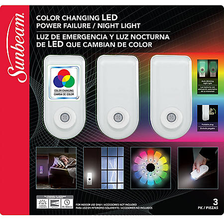Sunbeam Color Changing LED Power Failure Night Light with LED Flashlight (3 pk.)
