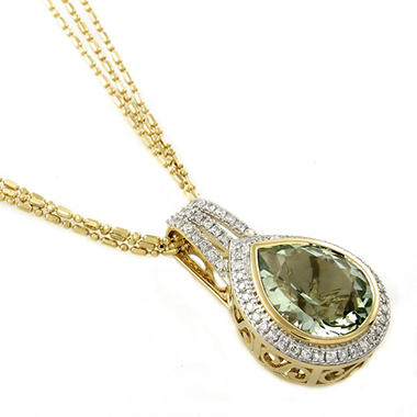 4.35 ct. t.w. Prasiolite and Diamond Pendant in 14K Yellow Gold