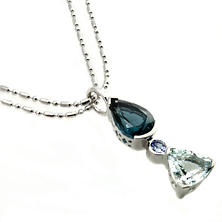 Aquamarine, Topaz & Tanzanite Pendant in Sterling Silver