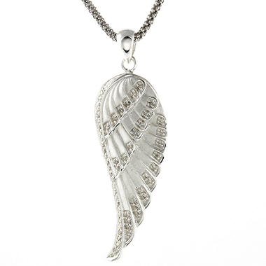 0.20 ct. t.w. Diamond Angel Wing Pendant in Satin Textured Sterling Silver