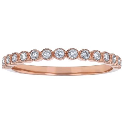 Stackable 0.25 CT. T.W. Diamond Milgrain Anniversary Band in 14K Gold (Assorted Colors)