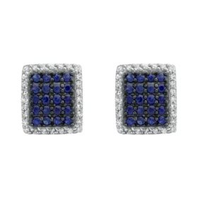 S Collection .64 CT. T.W. Blue Sapphire and Diamond Earrings in 14K White Gold