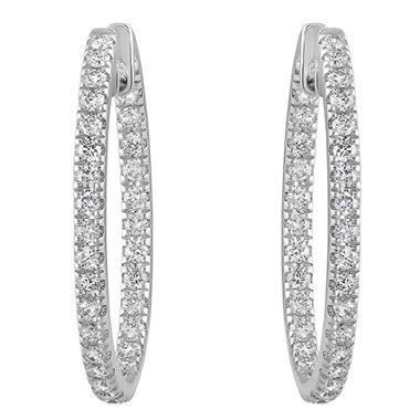 1 Ct T W Diamond Hoop Earrings In 14k White Gold