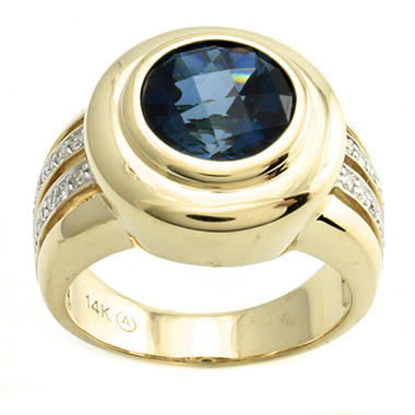 3.74 ct. London Blue Topaz and Diamond Ring in 14K Yellow Gold