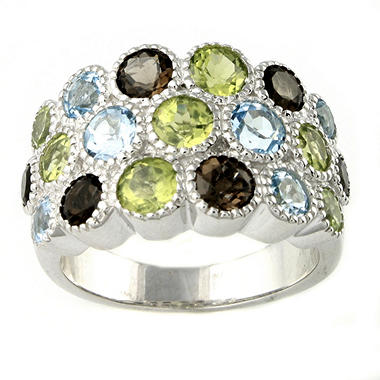 Peridot, Smoky Quartz & Topaz Ring in Sterling Silver