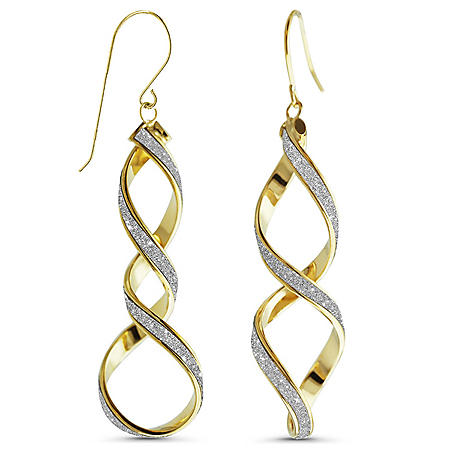 14K Yellow Gold Glitter Double Twist French Wire Earrings