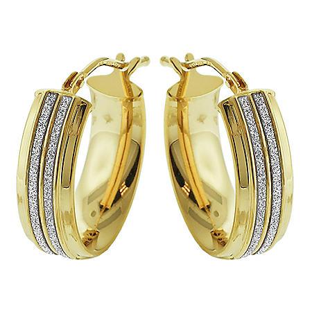 14K Yellow Gold Oval Italian Double Channel Glitter Earrings