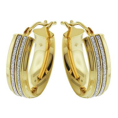 14k Yellow Gold Oval Italian Double Channel Glitter Earrings Sam S