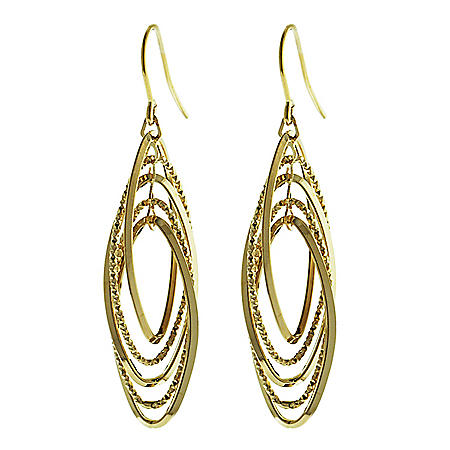 14K Italian Gold Multi Oval French Wire Earrings