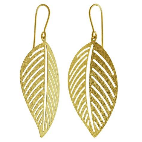 14K Yellow Gold Italian Textured Leaf Earrings
