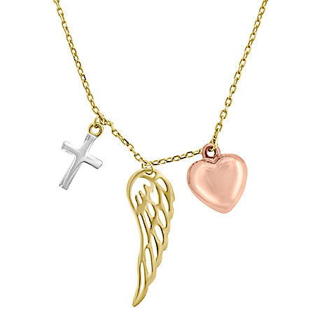 """14K Tri-Tone Cross, Wing, and Heart Necklace, 16-18"""""""