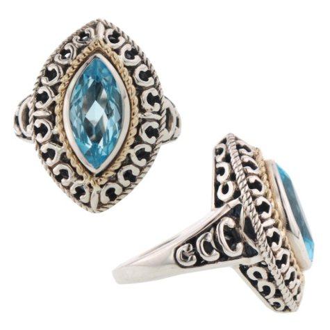 925 & 14KY RING BLUE TOPAZ RING