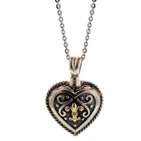 Sterling Silver & 14K Gold Heart Pendant