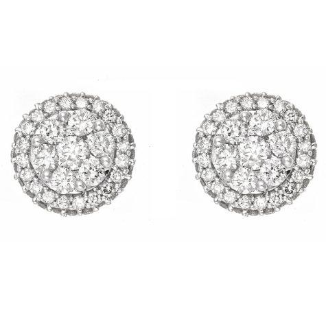 1.0 ct. t.w. Diamond Cluster Earrings in 14K White Gold (H-I, I1)