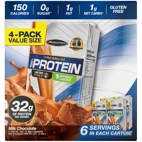 MuscleTech Multi-Serve Ready To Drink Protein Shake, Chocolate  (64 fl. oz., 4 pk.)
