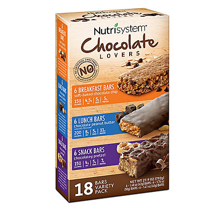 Nutrisystem Chocolate Lovers Breakfast, Lunch and Snack Bar Variety Pack (18 ct.)